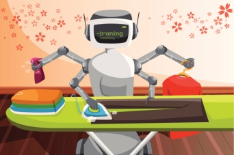 A vector illustration of a robot ironing clothes